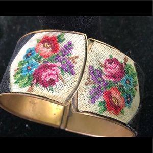 Vintage Needlepoint Brass Bracelet